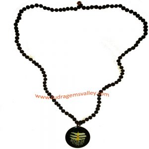 Black dyed rudraksha 5 face 6mm to 6.5mm Indonesian 109 beads mala with acrylic black mahakal pendant.