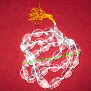 Sphatik crystal faceted plain shape 14x20mm oval 108+1 beads prayer mala, weight approx 230 grams, pack of 1 mala