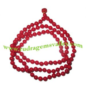 Red Coral (moonga) 5mm 108 beads knotted mala