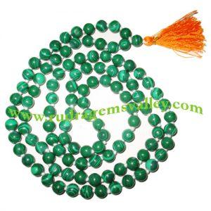 Malachite semi precious stone, gemstone 7mm to 8mm 108 beads knotted mala