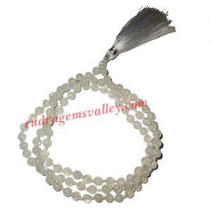 Moonstone semi precious stone, gemstone 7mm to 8mm 108 beads knotted mala