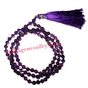 Amethyst semi precious stone, gemstone 7mm to 8mm 108 beads knotted mala