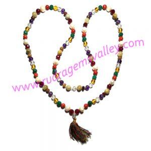 Navratan mala, navaratan prayer mala, navaratna japa mala, nine gems mala, multistone prayer mala, weight approx 64.80 grams
