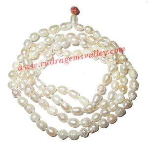 Fresh water pearl prayer mala of 5mm to 7mm 108+1 beautiful pearls; weight approx 26.2. It represents moon and cures depression, insanity, mind, heart, eyesight, menstrual related problems etc.