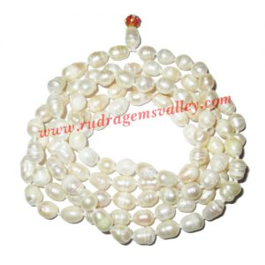Fresh water pearl prayer mala of 6x8.5mm 108+1 beautiful pearls; weight approx 49.38. It represents moon and cures depression, insanity, mind, heart, eyesight, menstrual related problems etc.