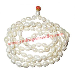 Fresh water pearl prayer mala of 5x7mm 108+1 beautiful pearls; weight approx 25.66. It represents moon and cures depression, insanity, mind, heart, eyesight, menstrual related problems etc.