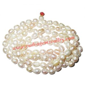 Fresh water pearl prayer mala of 7x9mm 108+1 beautiful pearls; weight approx 72.3. It represents moon and cures depression, insanity, mind, heart, eyesight, menstrual related problems etc.
