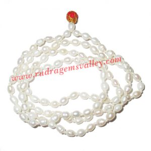 Fresh water pearl prayer mala of 3x4mm 108+1 beautiful pearls; weight approx 10.71. It represents moon and cures depression, insanity, mind, heart, eyesight, menstrual related problems etc.