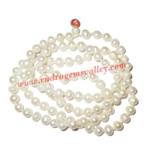 Fresh water pearl prayer mala of 8x11mm 108+1 beautiful pearls; weight approx 68.62. It represents moon and cures depression, insanity, mind, heart, eyesight, menstrual related problems etc.