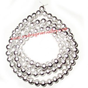 Parad mercury beads mala, string-necklace of 8mm round parad beads for japa prayer, weight approx 251 grams. It is used for chanting mantras for spiritual attainments as well as multiple health benefits including diabetes, blood pressure and heart disease
