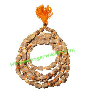 Tulsi beads mala, holy basil, auspicious wood beads-seeds string (mala of 108+1 beads), size: 5x7mm, pack of 1 string.