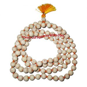 Tulsi beads mala, holy basil, auspicious wood beads-seeds string (mala of 108+1 beads), size: 7mm, pack of 1 string.