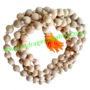 Tulsi beads mala, holy basil, auspicious wood beads-seeds string (mala of 108+1 beads), size: 10mm, pack of 1 string.