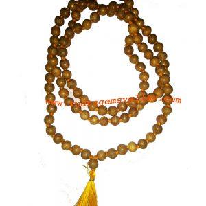 Bael wood beads 9mm mala 108+1 beads knotted, wood apple beads mala, vilvamaran beads mala, bael (aegle marmelos) beads prayer mala. Pack of 1 mala.