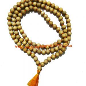 Goolar (gular) wood beads 9mm mala 108+1 beads knotted, ficus racemosa (syn. Ficus glomerata Roxb.) beads prayer mala. Pack of 1 mala.