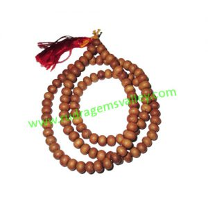 White Sandal Wood Beads, Auspicious Wood Beads-Seeds String (mala of 108+1 beads), size: 6mm, pack of 1 string.