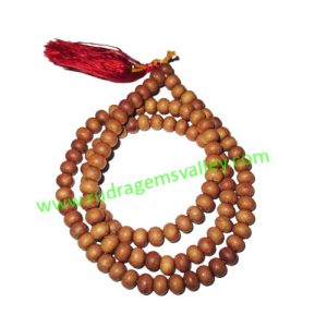 White Sandal Wood Beads, Auspicious Wood Beads-Seeds String (mala of 108+1 beads), size: 10mm, pack of 1 string.