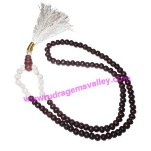 Rosewood 7mm 94 beads and agate stone 7mm 14 beads total 108+1 beads knotted mala, pack of 1 mala