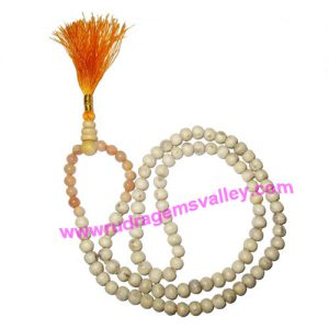 Tulsi holy basil 7mm 94 beads and agate stone 7mm 14 beads total 108+1 beads knotted mala, pack of 1 mala