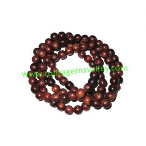 Rosewood Beads String (mala of 108+1 beads) made of fine quality handmade 6mm round rosewood beads, pack of 1 string.