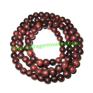Rosewood Beads String (mala of 108+1 beads) made of fine quality handmade 7mm round rosewood beads, pack of 1 string.