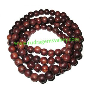 Rosewood Beads String (mala of 108+1 beads) made of fine quality handmade 8mm round rosewood beads, pack of 1 string.