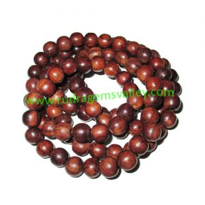 Rosewood Beads String (mala of 108+1 beads) made of fine quality handmade 9mm round rosewood beads, pack of 1 string.