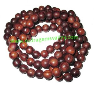 Rosewood Beads String (mala of 108+1 beads) made of fine quality handmade 10mm round rosewood beads, pack of 1 string.
