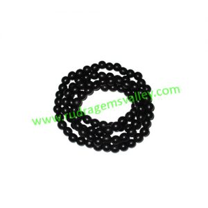 Real Ebony Wood Beads String (mala of 109 beads without knots), karungali mala, made of fine quality handmade 6mm round black wood beads, pack of 1 string.