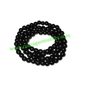 Real Ebony Wood Beads String (mala of 109 beads without knots), karungali mala, made of fine quality handmade 8mm round black wood beads, pack of 1 string.