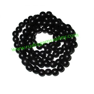 Real Ebony Wood Beads String (mala of 109 beads without knots), karungali mala, made of fine quality handmade 10mm round black wood beads, pack of 1 string.