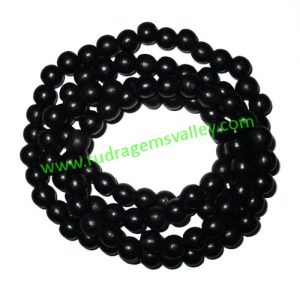 Real Ebony Wood Beads String (mala of 109 beads without knots), karungali mala, made of fine quality handmade 12mm round black wood beads, pack of 1 string.
