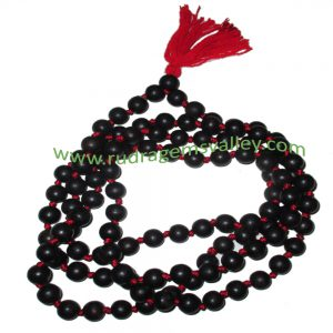 Real Ebony Wood Beads String (mala of 108+1 beads knotted), karungali mala, made of fine quality handmade 6mm round black wood beads, pack of 1 string.