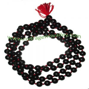 Real Ebony Wood Beads String (mala of 108+1 beads knotted), karungali mala, made of fine quality handmade 8mm round black wood beads, pack of 1 string.
