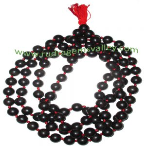 Real Ebony Wood Beads String (mala of 108+1 beads knotted), karungali mala, made of fine quality handmade 10mm round black wood beads, pack of 1 string.