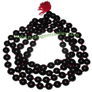 Real Ebony Wood Beads String (mala of 108+1 beads knotted), karungali mala, made of fine quality handmade 12mm round black wood beads, pack of 1 string.