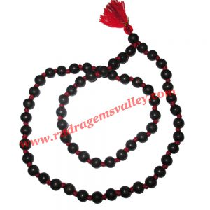 Real Ebony Wood Beads String (mala of 54+1 beads knotted), karungali mala, made of fine quality handmade 12mm round black wood beads, pack of 1 string.
