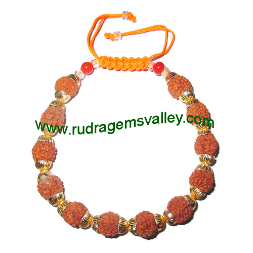 Adjustable beaded free size bracelets, made of rudraksha beads and gold plated brass caps as per picture. Pack of 1 piece, also available in custom designs and colors as per your instructions.