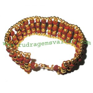 Rudraksha 5 mukhi (five face) 6mm to 6.5mm 78 beads bracelets made in gold plated balls and wire as per picture. Pack of 1 piece, also available in custom designs and colors as per your instructions.