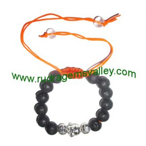 Adjustable beaded free size 8mm lava stone beads bracelets, made of 8mm volcanic rock 12 beads and 3 budhha metal beads in thread as per picture. Pack of 1 piece, also available in custom designs and sizes as per your instructions.