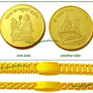 """Gold plated """"Mata Annapurna"""" and """"Kashi Vishwanath"""" 1 coin and 2 Gold plated """"Om"""" bracelets (pack of 1 gold coin and 2 bracelets- 1 gents and 1 ladies)"""