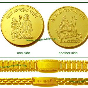 """Gold plated """"Mata Annapurna"""" and """"Kashi Vishwanath"""" 1 coin and Gold plated """"Om"""" and """"Jai Mata Di"""" bracelet (pack of 1 gold coin and 2 bracelets- 1 gents and 1 ladies)"""