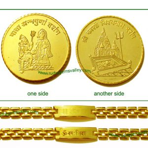 """Gold plated """"Mata Annapurna"""" and """"Kashi Vishwanath"""" 1 coin and Gold plated """"Om"""" and """"Om Namah Shivay"""" bracelets (pack of 1 gold coin and 2 bracelets, both ladies)"""