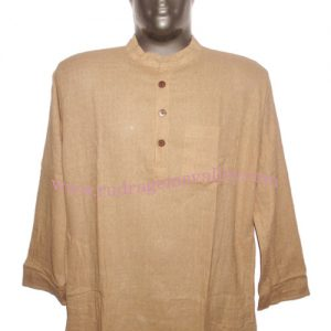 Fine quality full sleeve 34 inches long Indian khadi kurta, available in many chest sizes. Weight approx 340 grams, 4 pockets. Pack of 1 pcs.