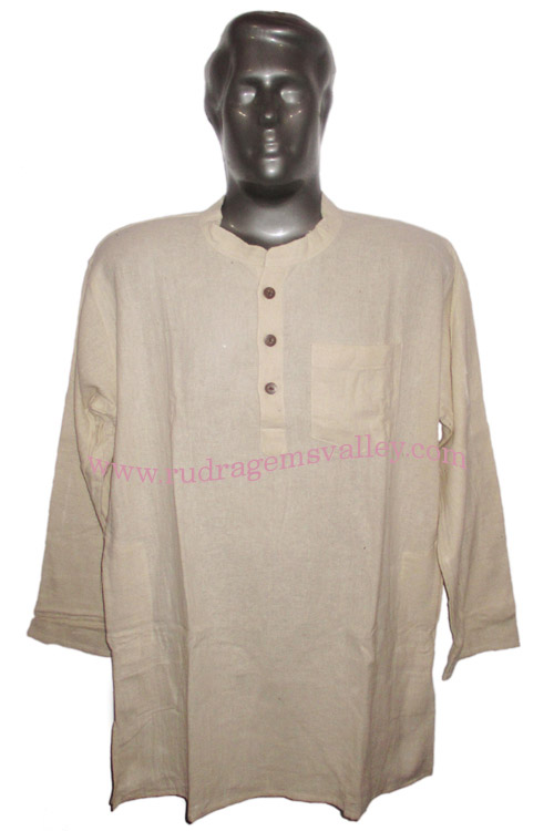 Fine quality full sleeve 40 inches long Indian khadi kurta, available in many chest sizes. Weight approx 400 grams, 4 pockets. Pack of 1 pcs.