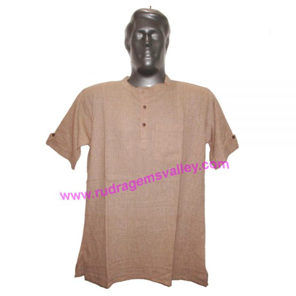 Fine quality half sleeve Indian khadi t-shirt 30 inches long, available in many chest sizes. Weight approx 250 grams, 1 pocket. Pack of 1 pcs.