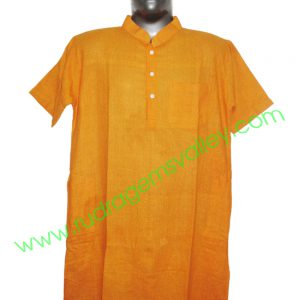 Fine quality half sleeve 34 inches long Indian khadi kurta, available in many chest sizes. Weight approx 310 grams, 4 pockets. Pack of 1 pcs.
