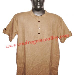 Fine quality half sleeve 40 inches long Indian khadi kurta, available in many chest sizes. Weight approx 330 grams, 4 pockets. Pack of 1 pcs.