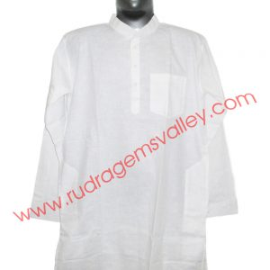 White cotton mens kurta full sleeve 40 inches long, available in many chest sizes. Weight approx 200 grams, 4 pockets. Pack of 1 pcs.
