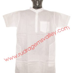 White cotton mens kurta half sleeve 40 inches long, available in many chest sizes. Weight approx 180 grams, 4 pockets. Pack of 1 pcs.